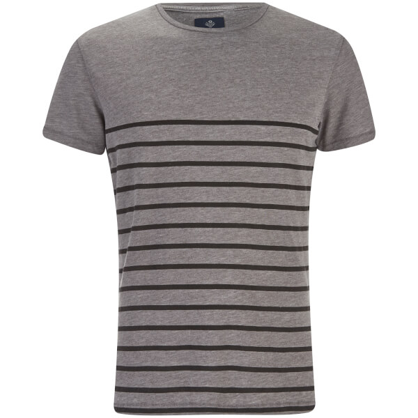 Threadbare Men's Matthews Crew Neck Stripe T-Shirt - Grey