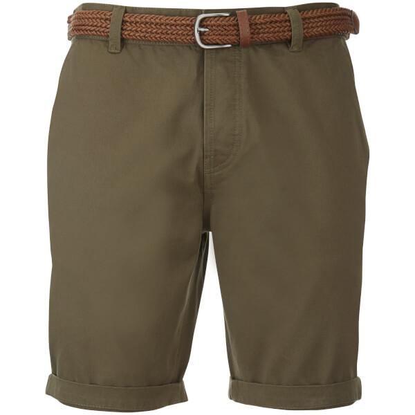 Threadbare Men's Belted Chino Shorts - Khaki