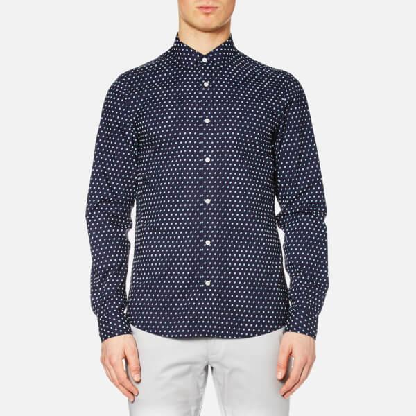 Michael Kors Men's Slim Finn Print Long Sleeve Shirt - Navy