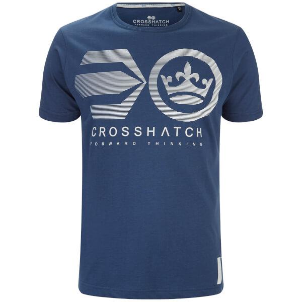 T-Shirt Homme Briscoe Logo Crosshatch -Bleu