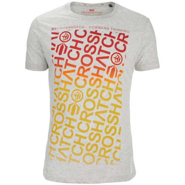 Crosshatch Men's Noremac Faded Logo Print T-Shirt - Light Grey Marl