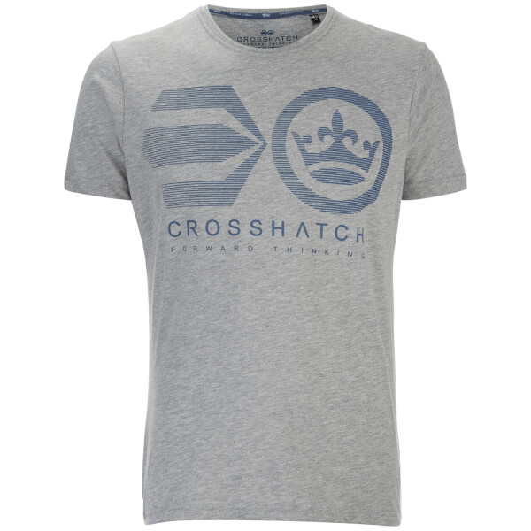 T-Shirt Homme Briscoe Logo Crosshatch -Gris