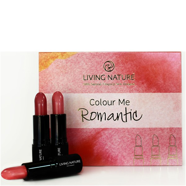 Living Nature Colour Me Romantic Lipstick Set - 3 Different Shades of Pink