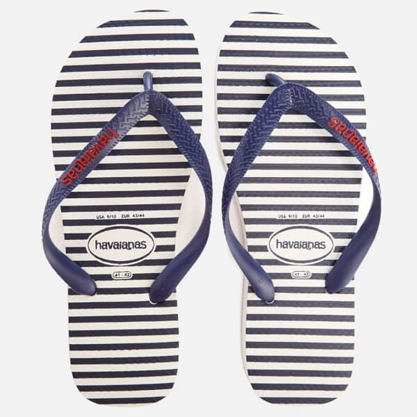 4192ac3d1 Havaianas Men s Top Nautical Flip Flops - White Navy Blue  Image 1