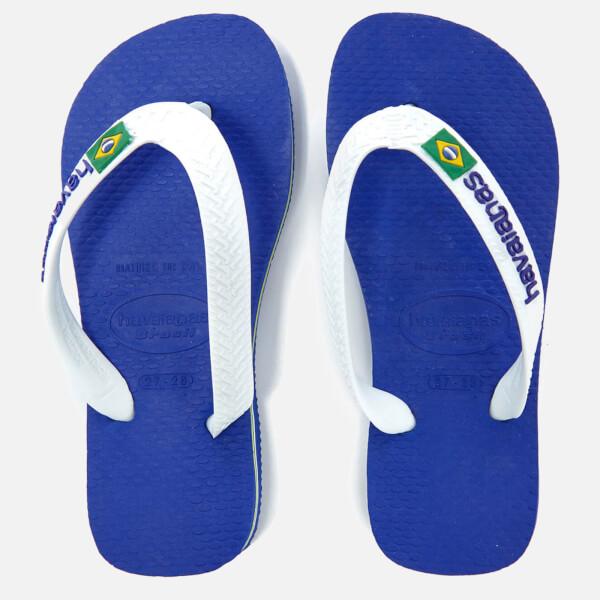 b51f72fc2 Havaianas Kids  Brasil Logo Flip Flops - Marine Blue Junior Clothing ...