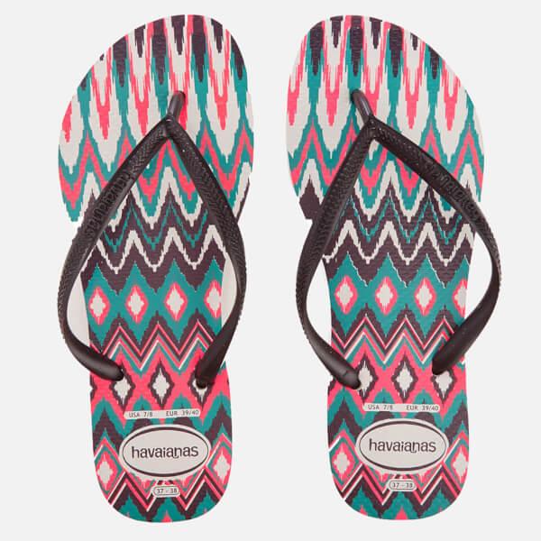 Havaianas Women's Tribal Slim Flip Flops - White/Black/Pink