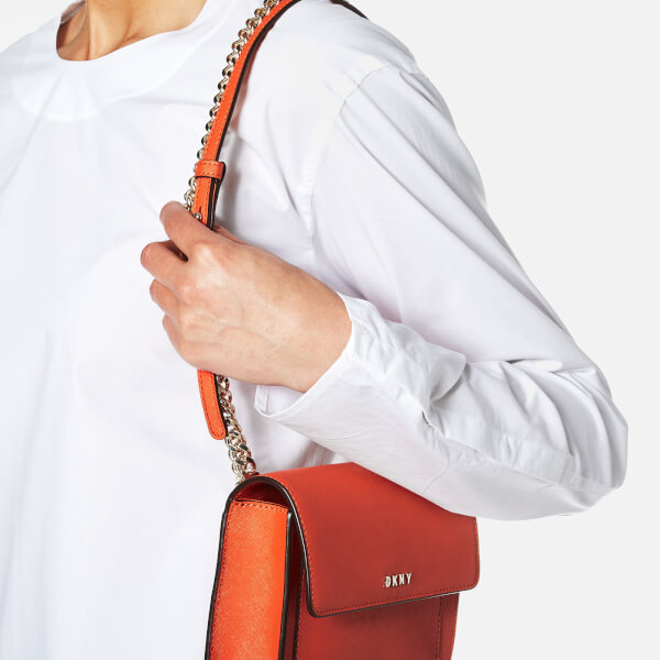 51fb69209e05 DKNY Women s Bryant Park Mini Flap Cross Body Bag - Orange  Image 5