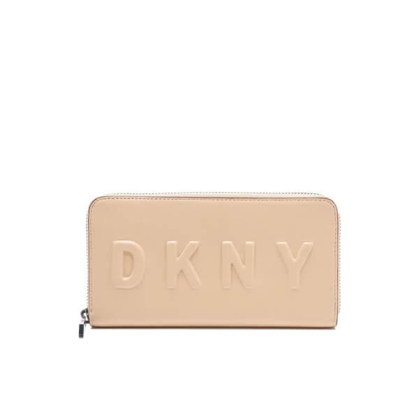 DKNY Women's Debossed Large Zip Around Wallet - Nude