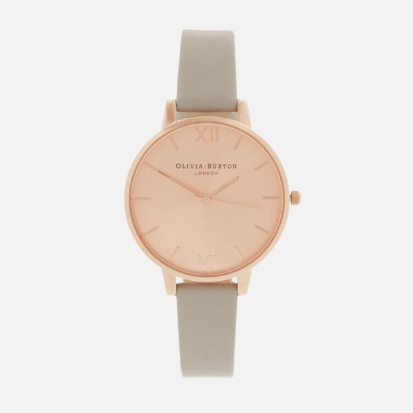 Olivia Burton Women's Big Dial Watch - Grey/Rose Gold