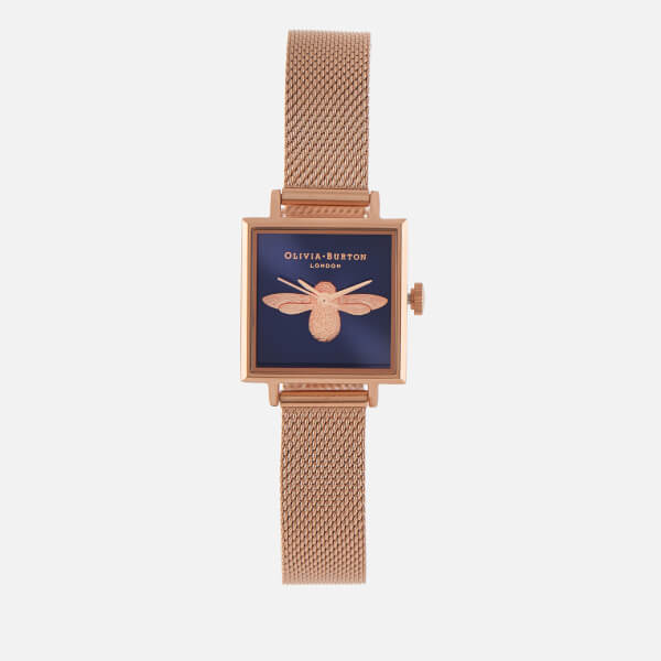 Olivia Burton Women's Moulded Bee Midi Square Dial Watch - Midnight/Rose Gold