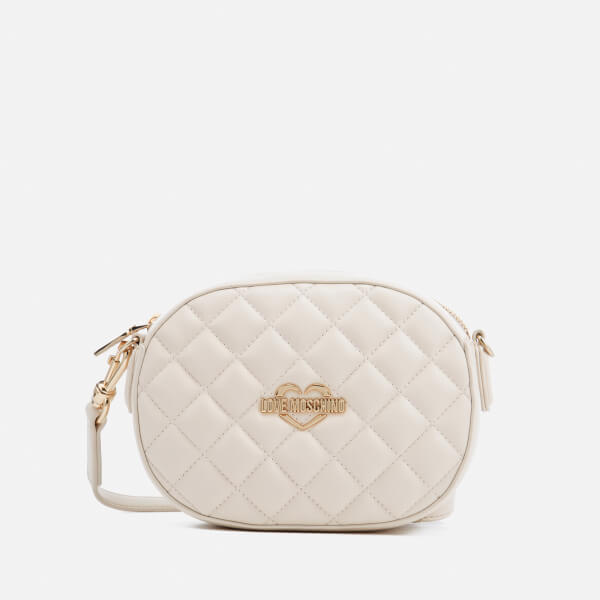 Love Moschino Women's Quilted Round Small Cross Body Bag - Ivory