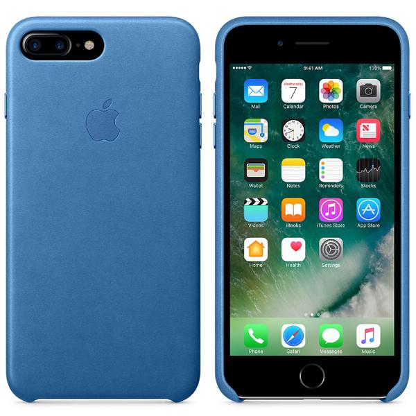 Étui en Cuir pour iPhone 7 Plus -Bleu Mer