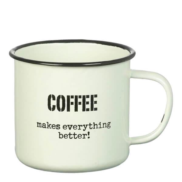 Parlane 'Coffee Better' Enamel Mug - White (8 x 9cm)