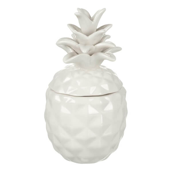 Parlane Pineapple Ceramic Storage Jar - White (16 x 8.5cm)