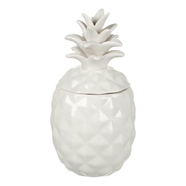 Parlane Pineapple Ceramic Storage Jar - White (20 x 10cm)