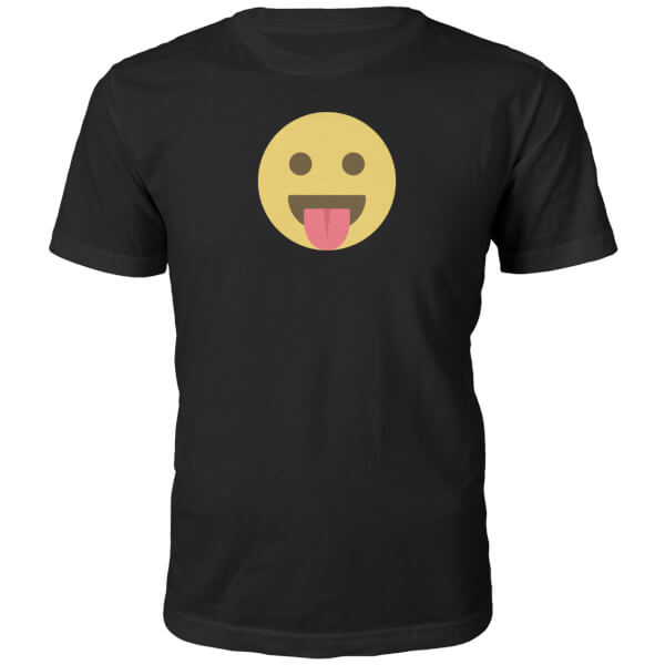 Emoji Unisex Tongue Out Face T-Shirt -Black