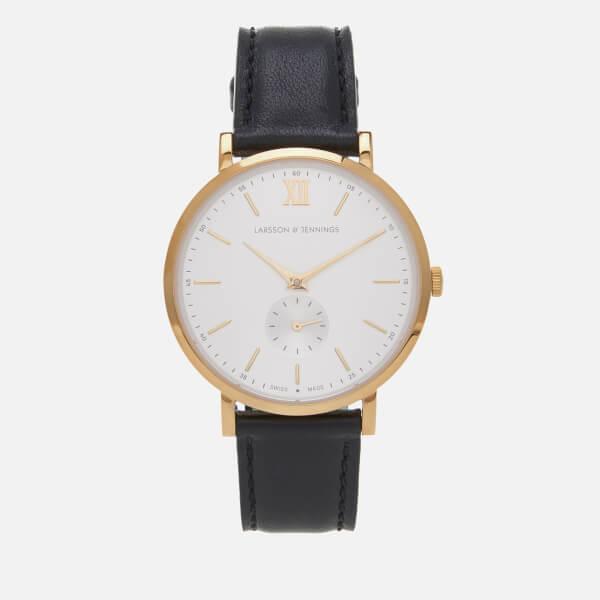 Larsson & Jennings Large Kulor 38mm Leather Watch - Black/Gold/White