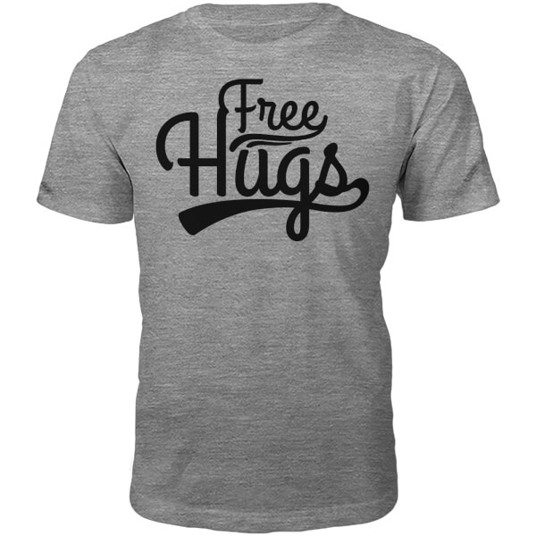 Free Hugs Slogan T-Shirt - Grey