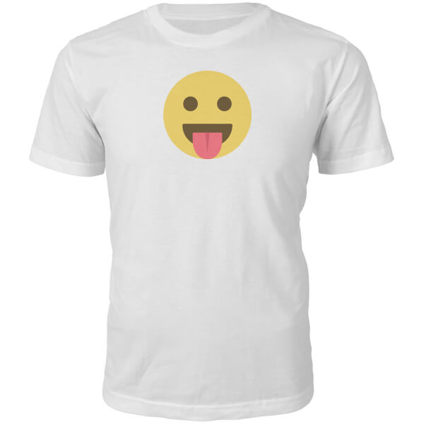 Emoji Unisex Tongue Out Face T-Shirt - White