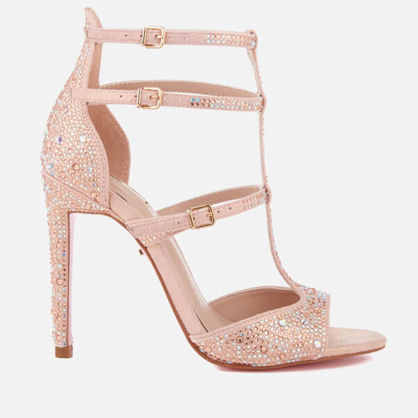 Carvela Women's Gaye Glitter T Bar Heeled Sandals - Pink