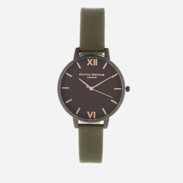 Olivia Burton Women's After Dark Watch - IP Black, Khaki/Rose Gold