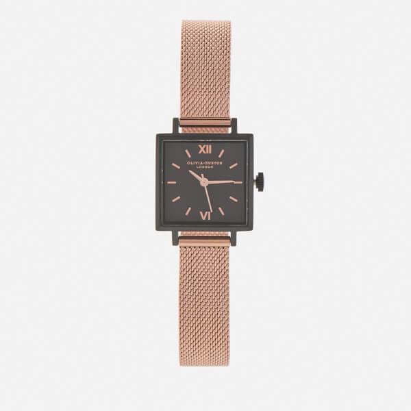 Olivia Burton Women's Midi Square Dial IP Watch - Black/Rose Gold Mesh