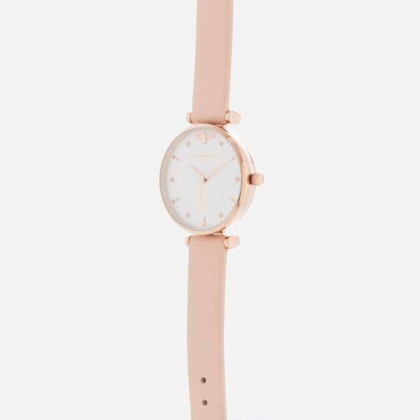 Olivia Burton Women s Queen Bee T-Bar Watch - Nude Peach Rose Gold  156c1bbc22