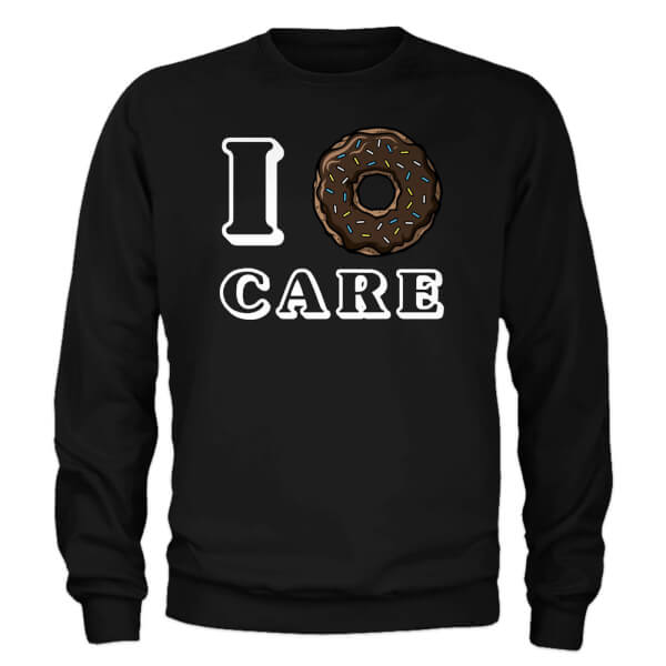 I Donut Care Slogan Sweatshirt - Black