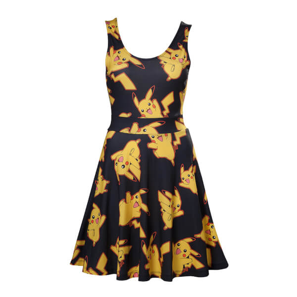 Pokémon Women's Black Dress With All Over Pikachu - Black