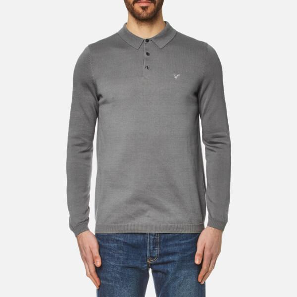Lyle   Scott Men s Long Sleeve Mercerised Cotton Knitted Polo Shirt - Mid  Grey Marl  5c7222ea299