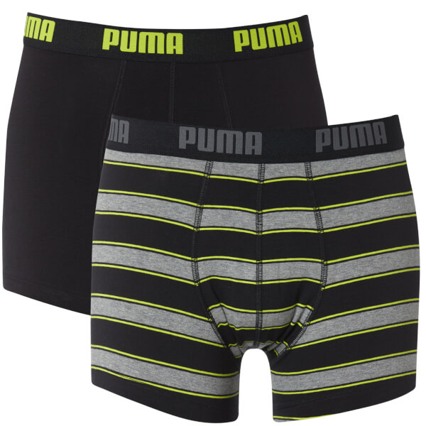 Puma Men's 2 Pack Rugby Striped Boxers - Black/Grey