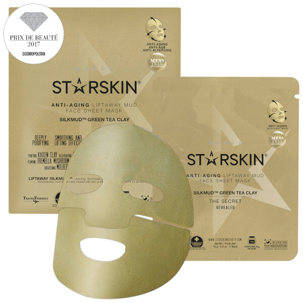 STARSKIN SILKMUD™ Green Tea Clay Anti-ageing Liftaway Mud Face Sheet Mask