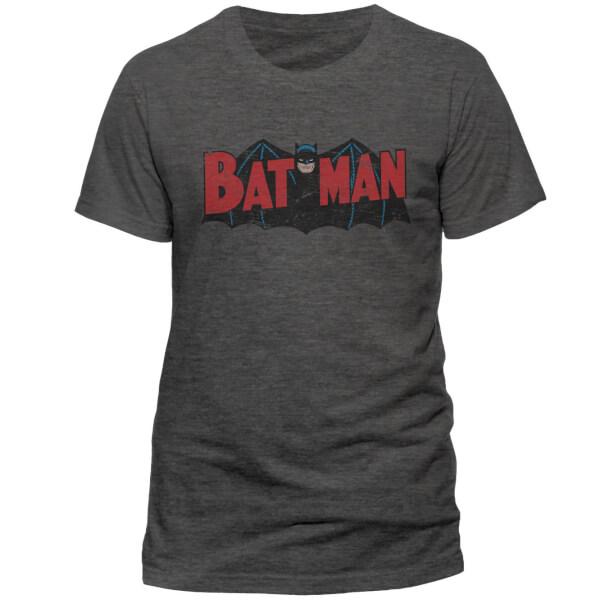 DC Comics Men's Batman Authentic Logo T-Shirt - Grey