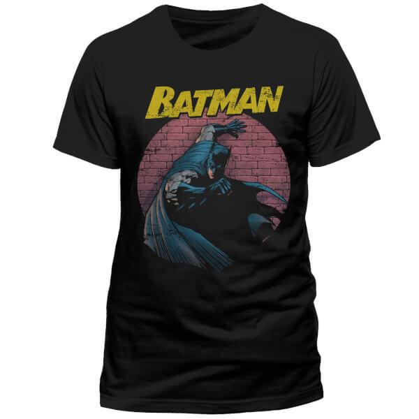 DC Comics Men's Batman Retro Spotlight T-Shirt - Black