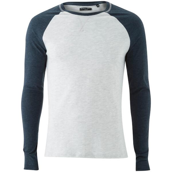 T-Shirt Osbourne Manches Longues Homme Raglan Brave Soul - Écru/ Bleu Marine