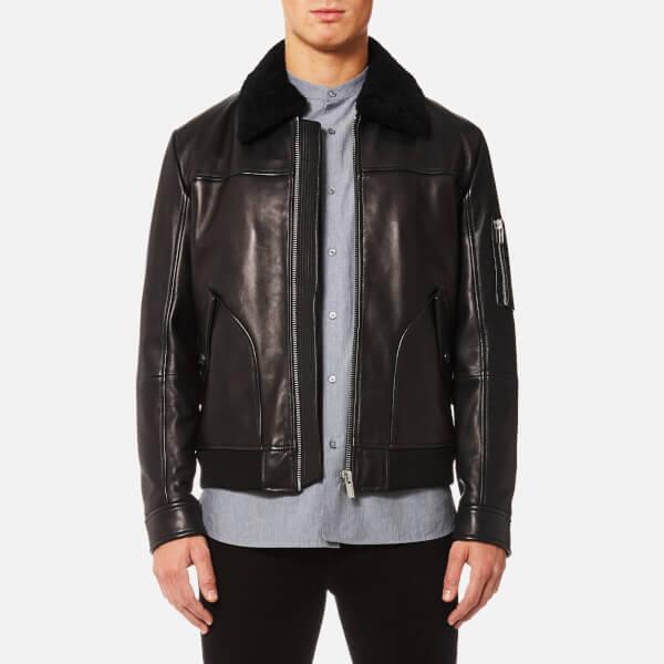 HUGO Men's Lannson Leather Jacket - Black