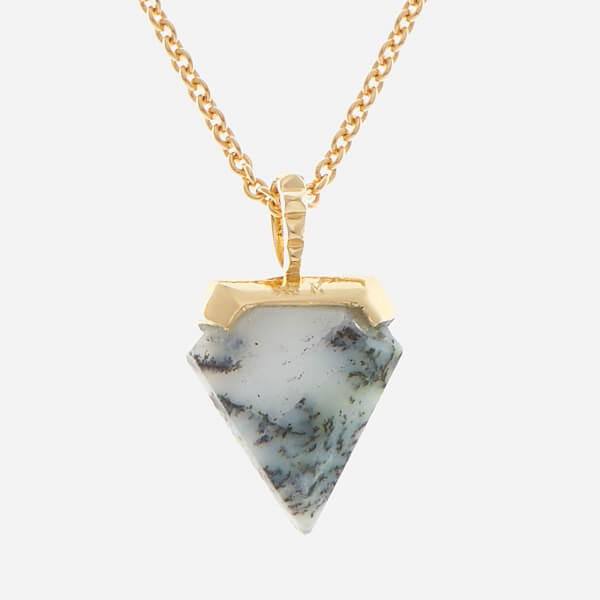 Missoma Women's Dendritic Chalcedony Mini Shield Pendant and Gold Plain Chain - Gold/Multi