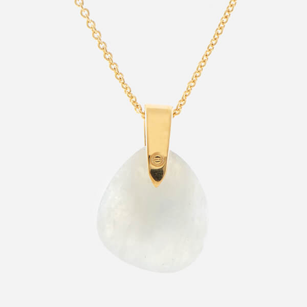 Missoma Women's Rainbow Moonstone Karma Pendant and Gold Plain Chain - Gold/White