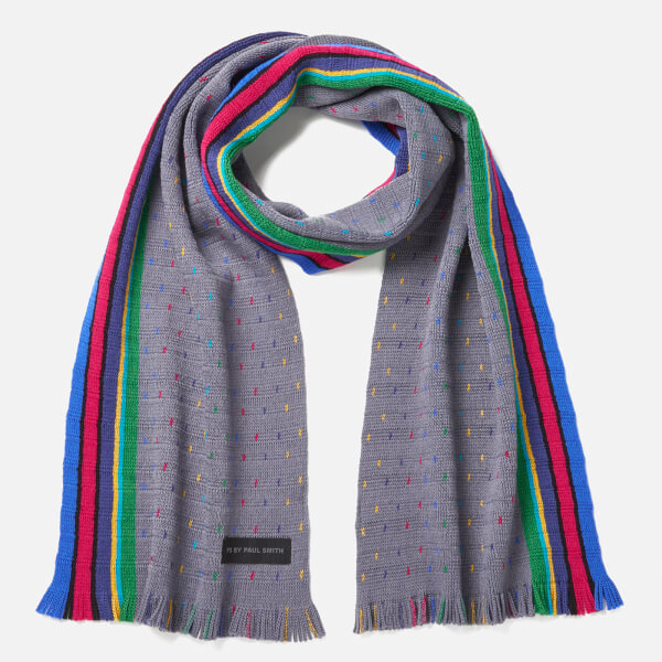 PS by Paul Smith Men's PS Stripe End Scarf - Grey