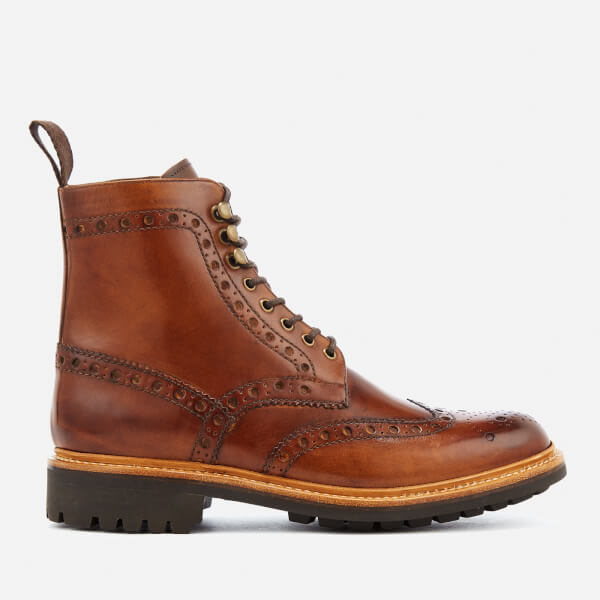 GRENSON Men's Fred Leather Commando Sole Lace Up Boots - - UK 7 l5JIYa