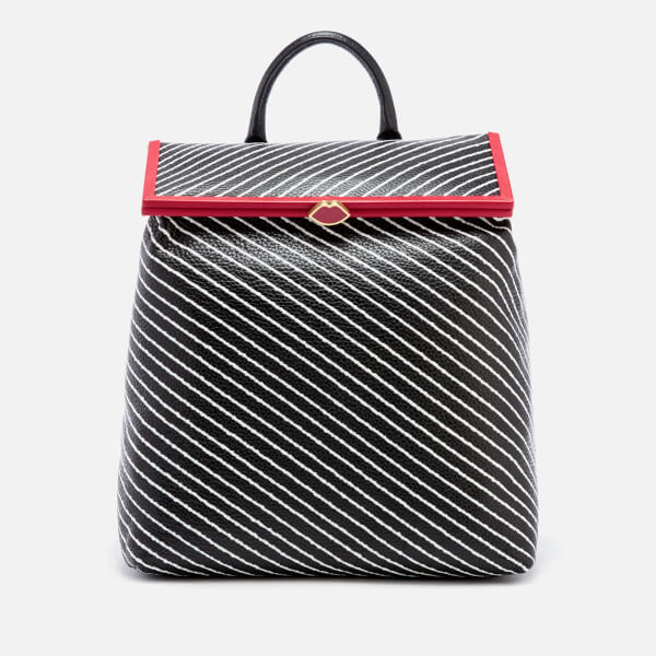 Lulu Guinness Women's Diagonal Stripes Jasmina Backpack - Black/Chalk