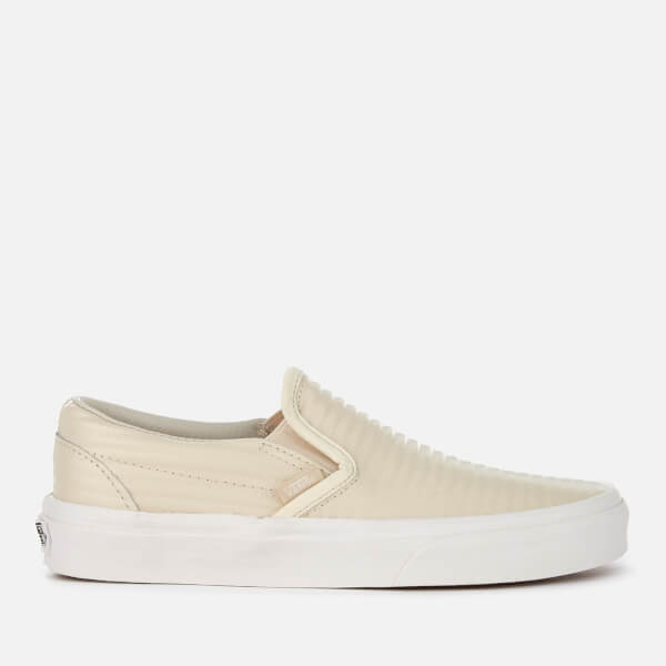 Vans Women's Classic Moto Leather Slip-On Trainers - Birch/Blanc de Blanc