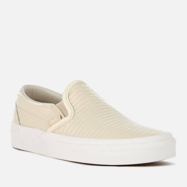 ffbcb4f1f3 Vans Women s Classic Moto Leather Slip-On Trainers - Birch Blanc de Blanc