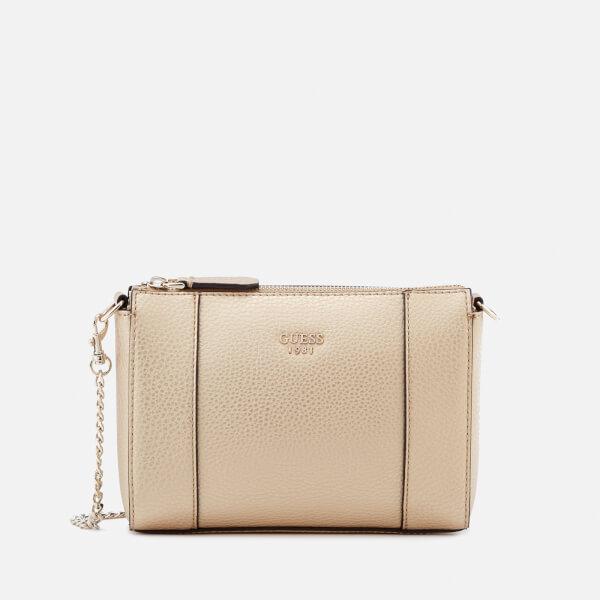 57b0d5d9fa2 Guess Women s Kamryn Mini Convertible Cross Body Bag - Gold  Image 1