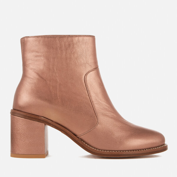 PS by Paul Smith Women's Luna Leather Heeled Ankle Boots - Copper Metallic