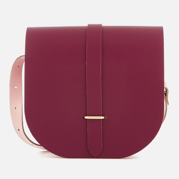 The Cambridge Satchel Company Women's Saddle Bag - Damson & Patent Peach Pink