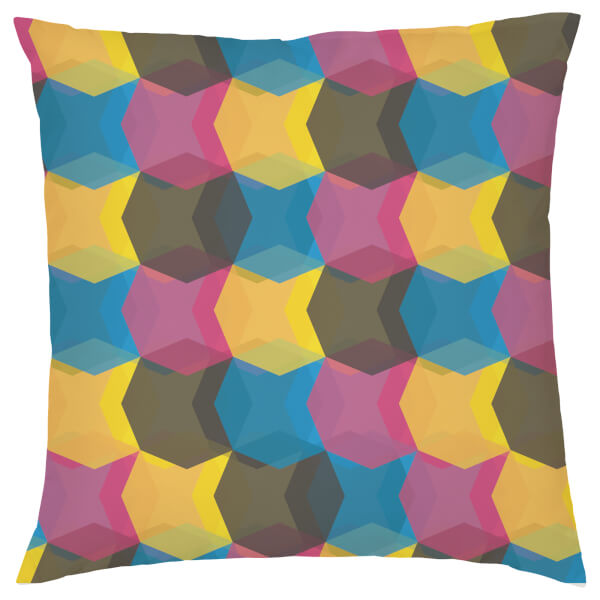Geometric Repeat Cushion - Pink & Yellow