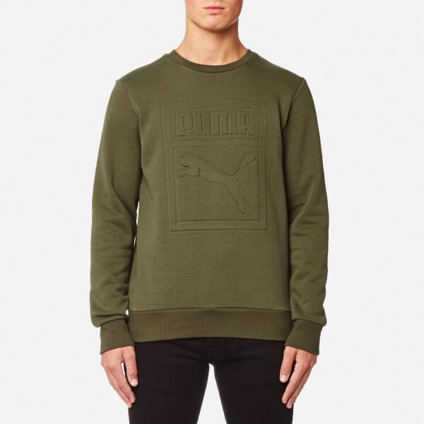 Puma Men's Archive Embossed Logo Crew Neck Sweatshirt - Olive Night