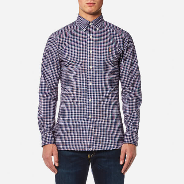 Polo Ralph Lauren Men's Slim Fit Poplin Check Shirt - Navy/Red: Image 1