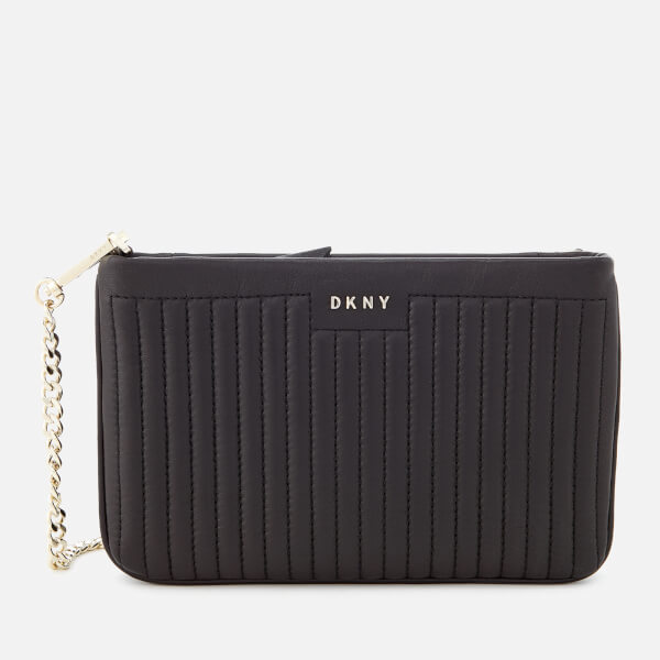 DKNY Women's Pinstripe Quilted Mini Double Compartment Cross Body Bag - Black